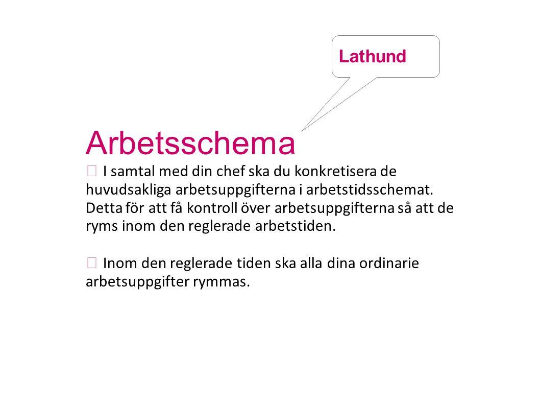 Arbetsschema Lathund  I samtal med din chef ska du konkretisera de