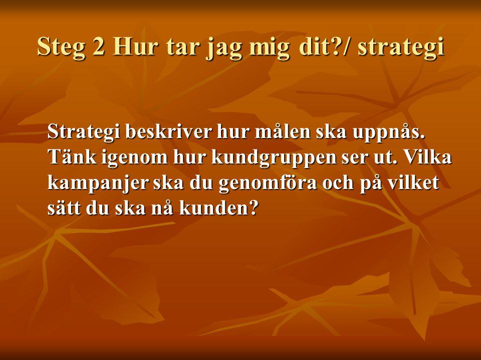 Steg 2 Hur tar jag mig dit / strategi