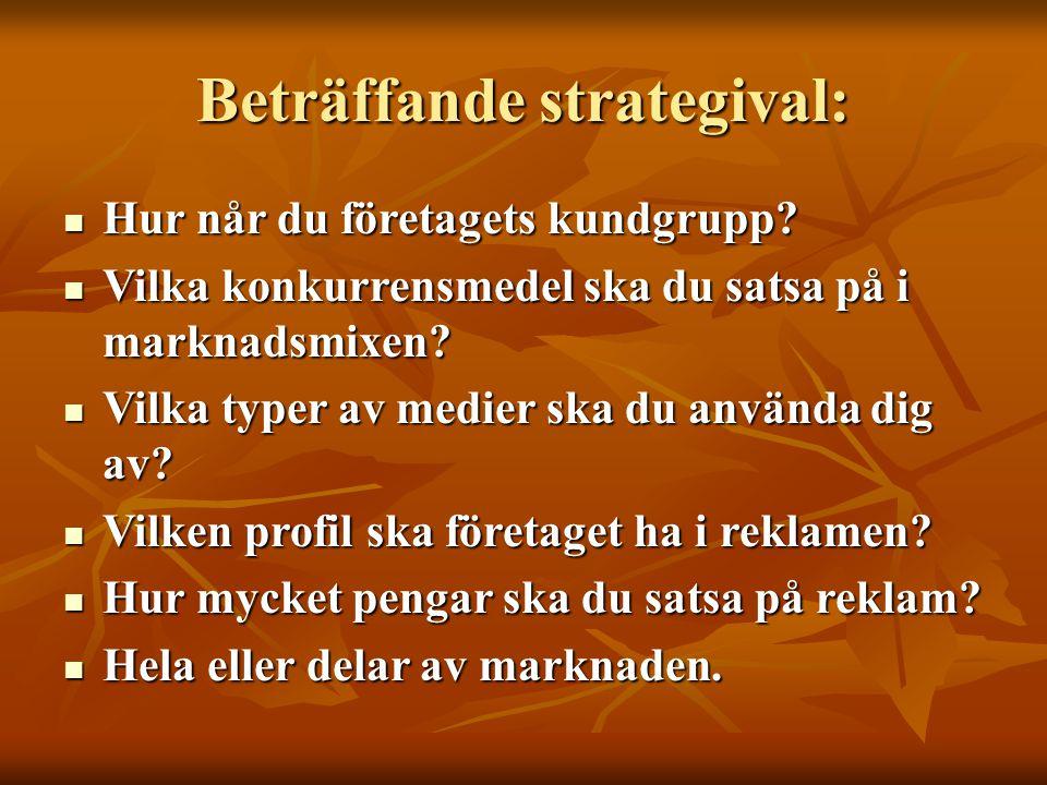 Beträffande strategival: