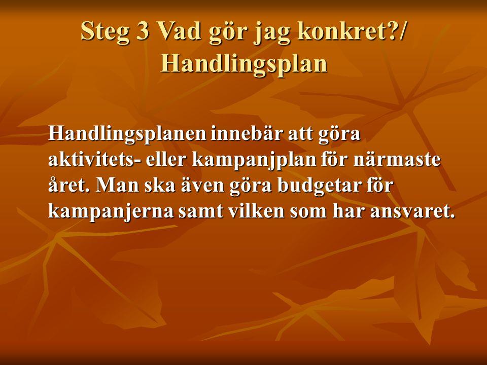 Steg 3 Vad gör jag konkret / Handlingsplan