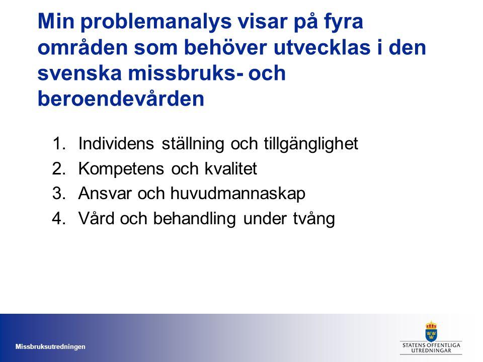 Min problemanalys visar på fyra områden som behöver utvecklas i den svenska missbruks- och beroendevården