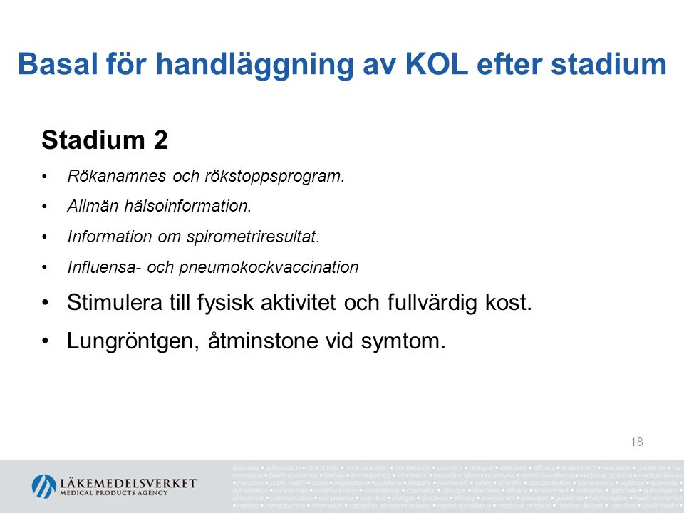 Basal för handläggning av KOL efter stadium