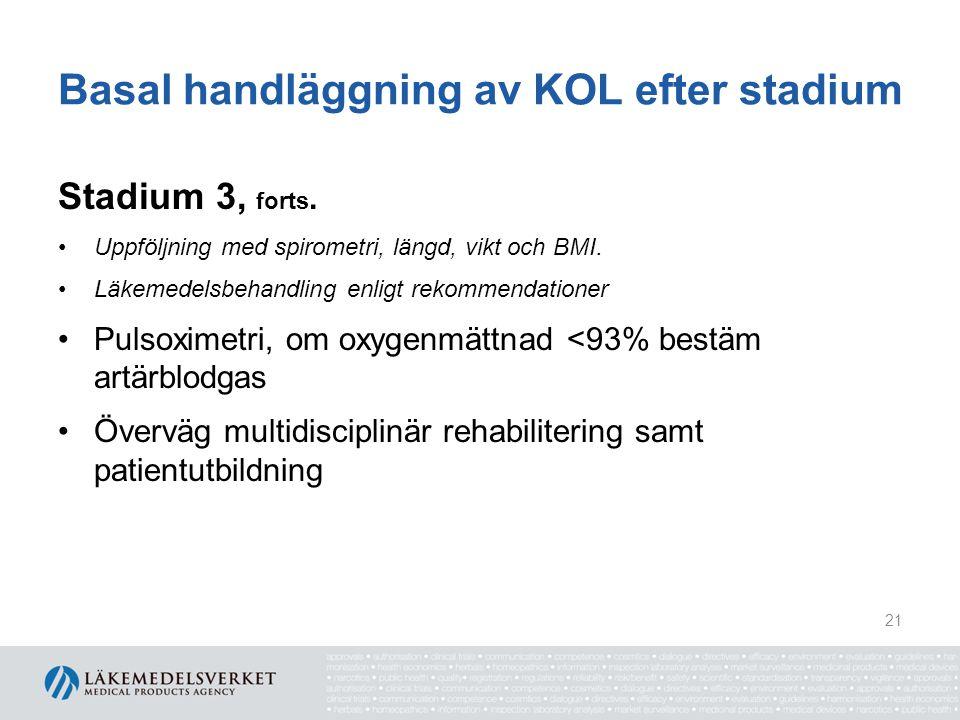 Basal handläggning av KOL efter stadium