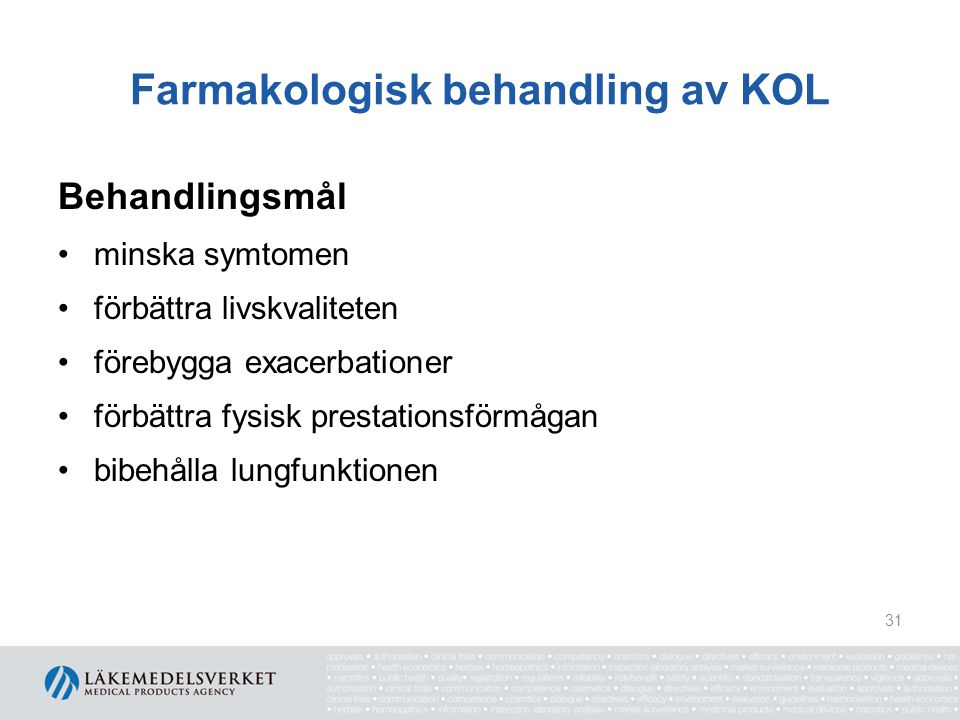 Farmakologisk behandling av KOL