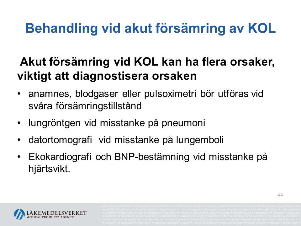 Behandling vid akut försämring av KOL
