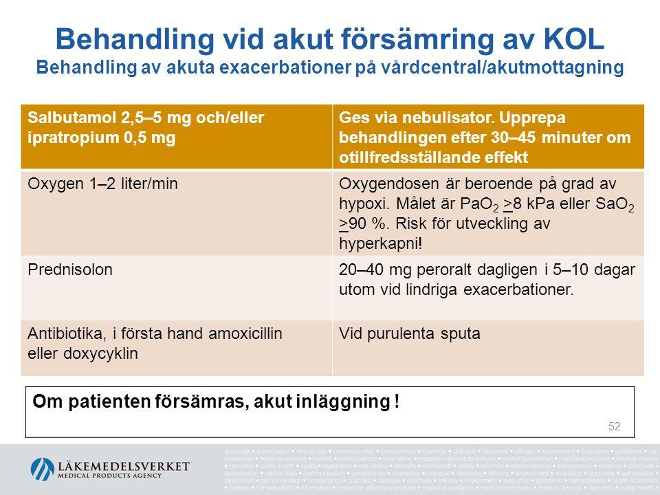 Behandling vid akut försämring av KOL Behandling av akuta exacerbationer på vårdcentral/akutmottagning