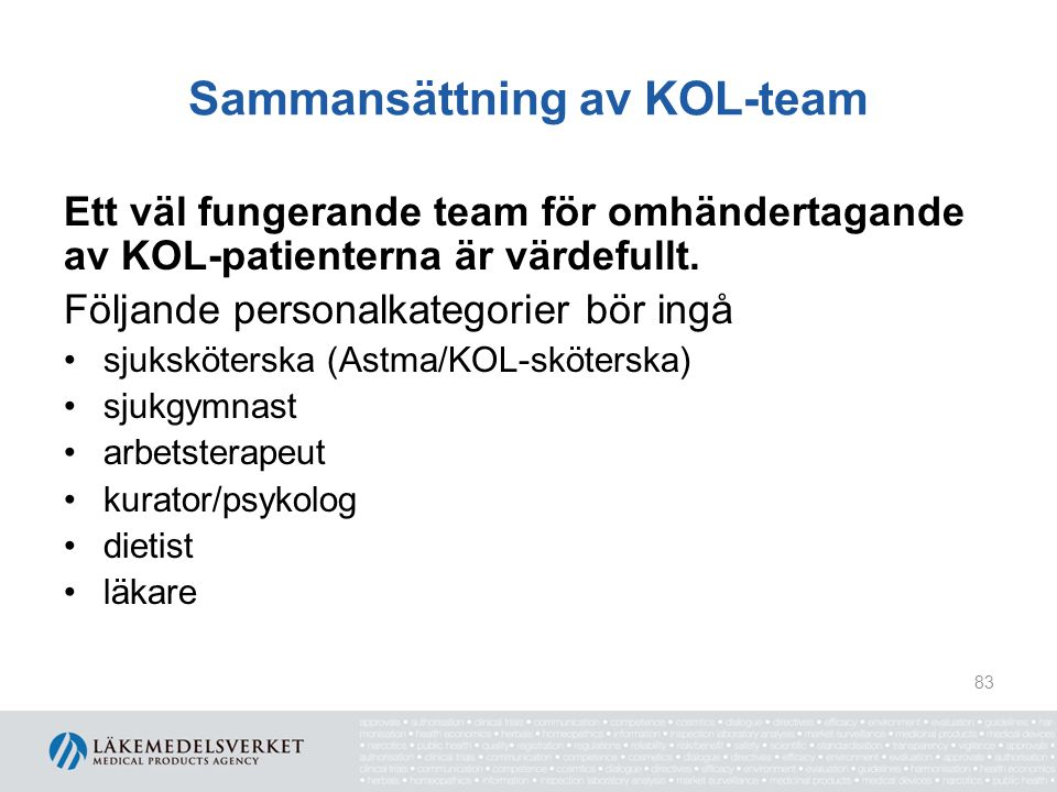 Sammansättning av KOL-team