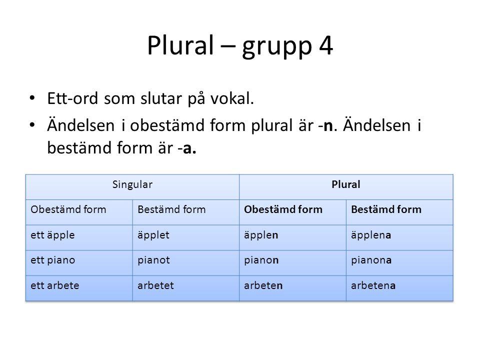 Plural – grupp 4 Ett-ord som slutar på vokal.