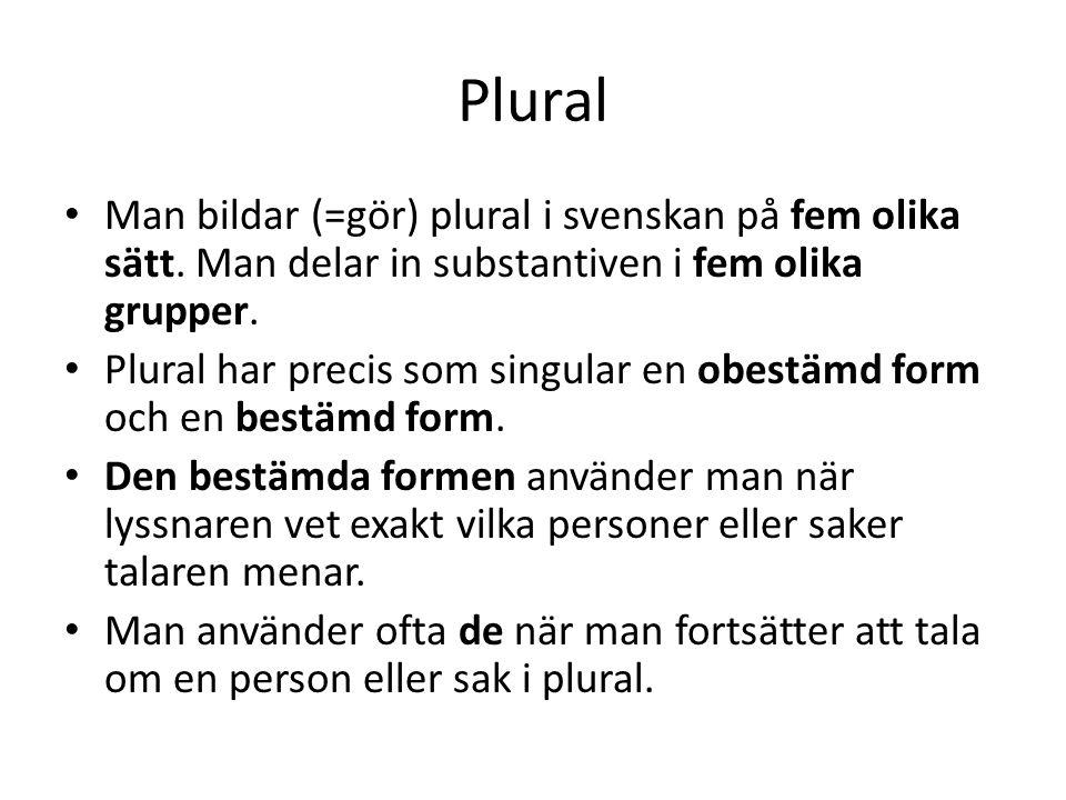 Plural Man bildar (=gör) plural i svenskan på fem olika sätt. Man delar in substantiven i fem olika grupper.