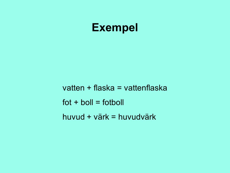 Exempel vatten + flaska = vattenflaska fot + boll = fotboll