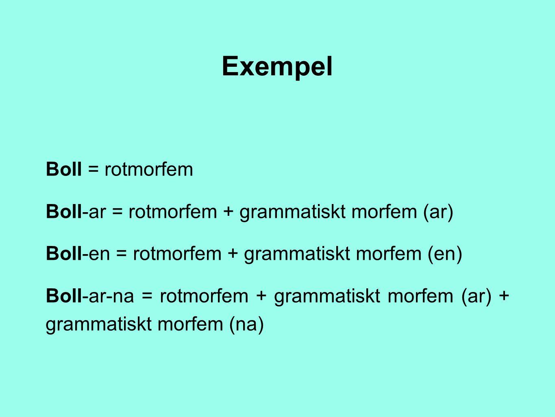 Exempel Boll = rotmorfem Boll-ar = rotmorfem + grammatiskt morfem (ar)