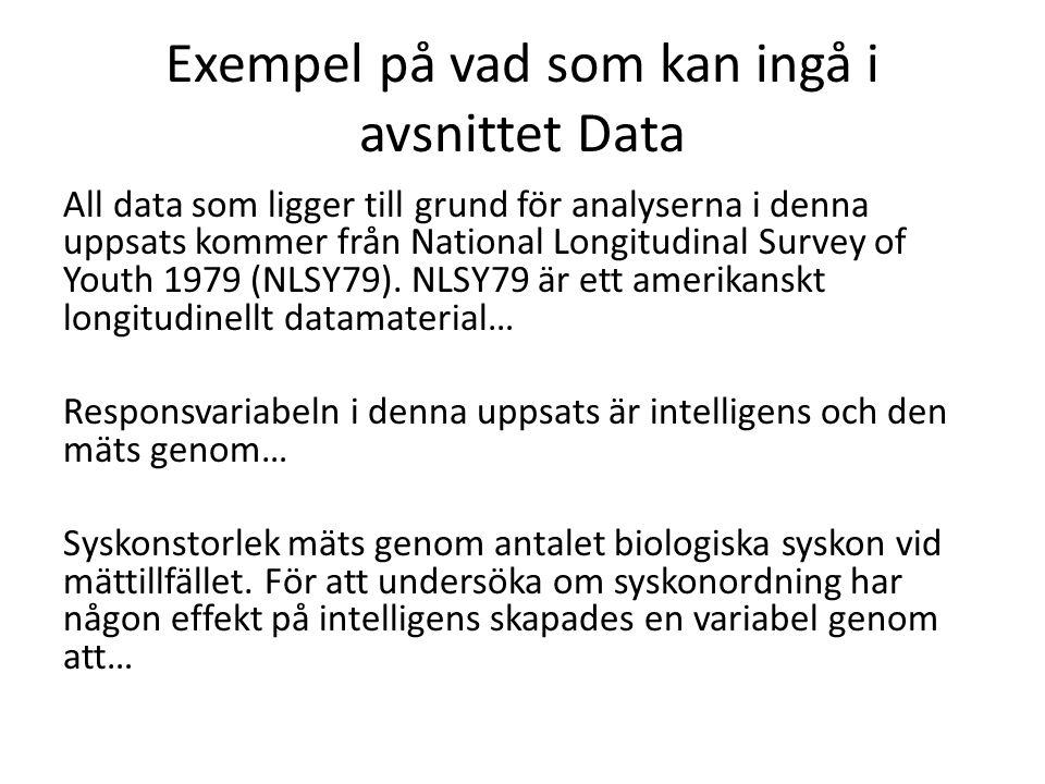 Exempel på vad som kan ingå i avsnittet Data