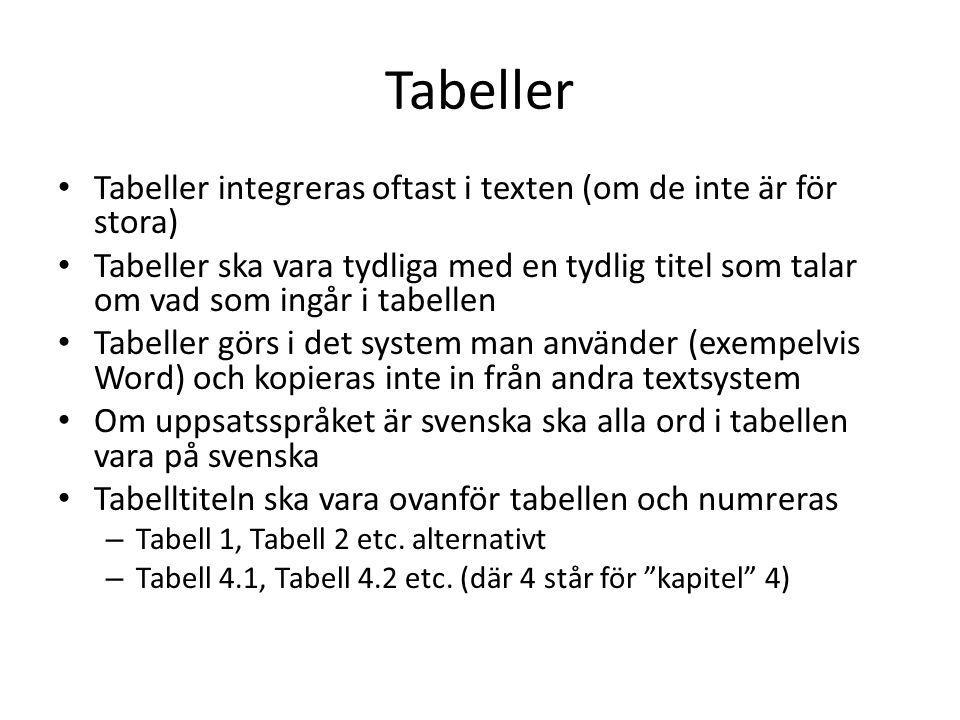 Tabeller Tabeller integreras oftast i texten (om de inte är för stora)