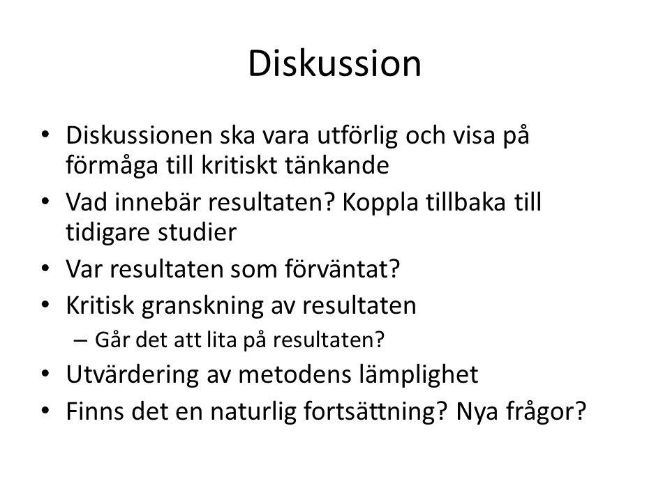 Diskussion Diskussionen ska vara utförlig och visa på förmåga till kritiskt tänkande. Vad innebär resultaten Koppla tillbaka till tidigare studier.