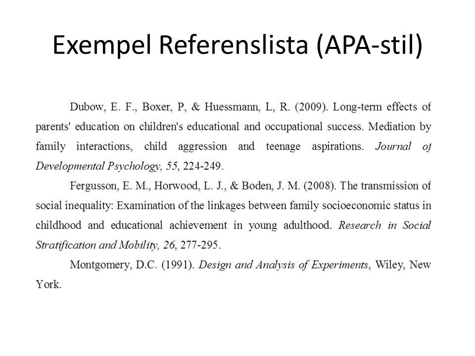 Exempel Referenslista (APA-stil)