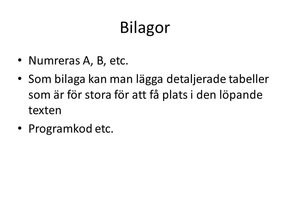 Bilagor Numreras A, B, etc.