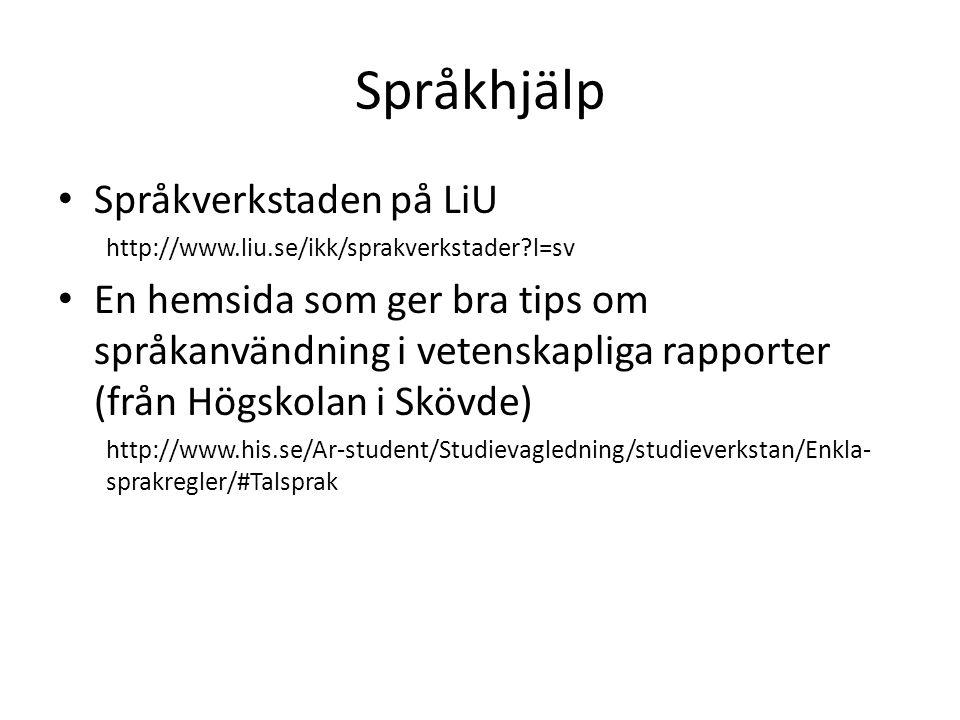 Språkhjälp Språkverkstaden på LiU