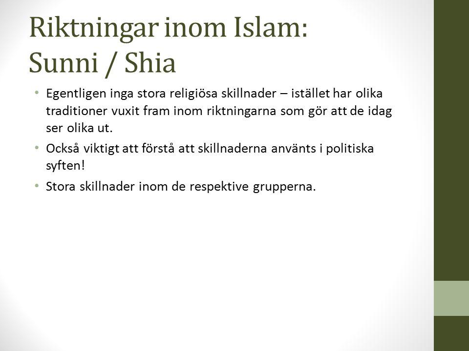 Riktningar inom Islam: Sunni / Shia
