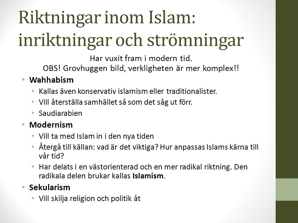 Riktningar inom Islam: inriktningar och strömningar