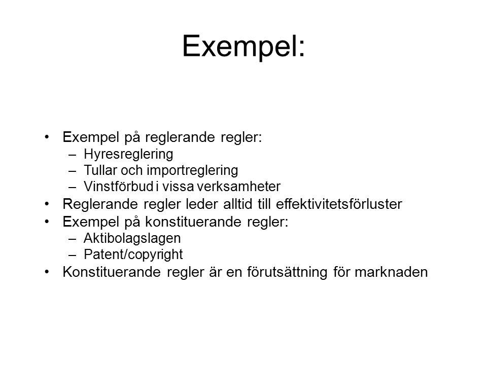 Exempel: Exempel på reglerande regler: