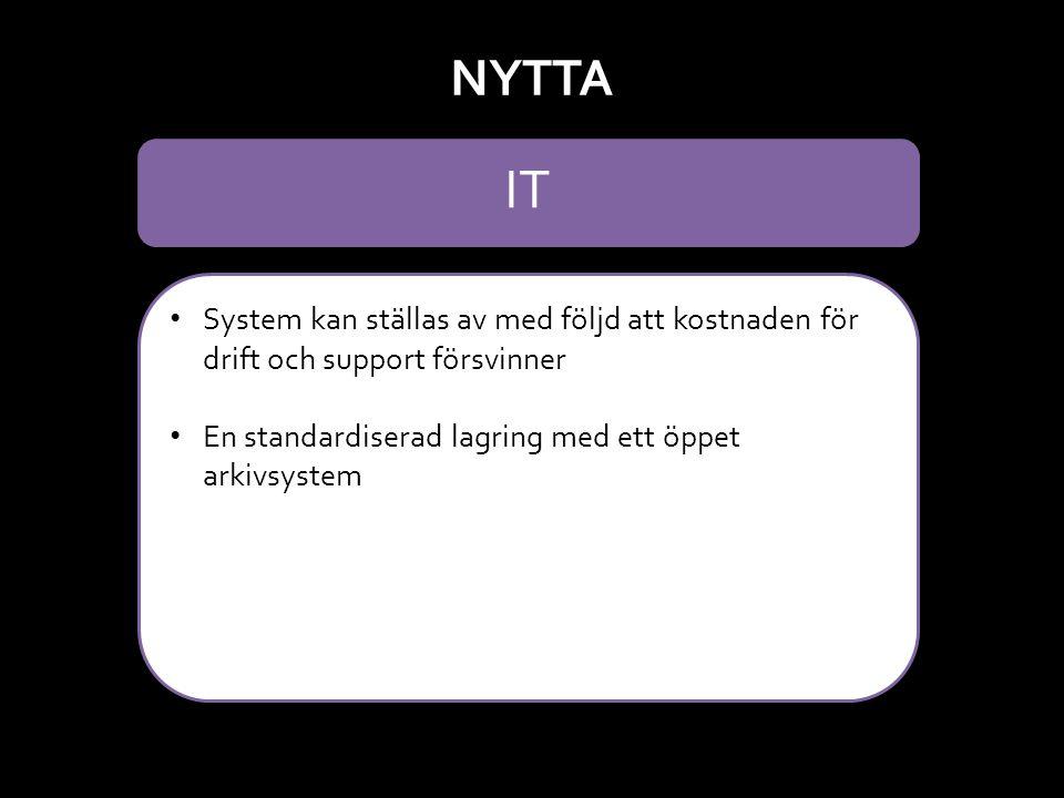 NYTTA IT. System kan ställas av med följd att kostnaden för drift och support försvinner. En standardiserad lagring med ett öppet arkivsystem.