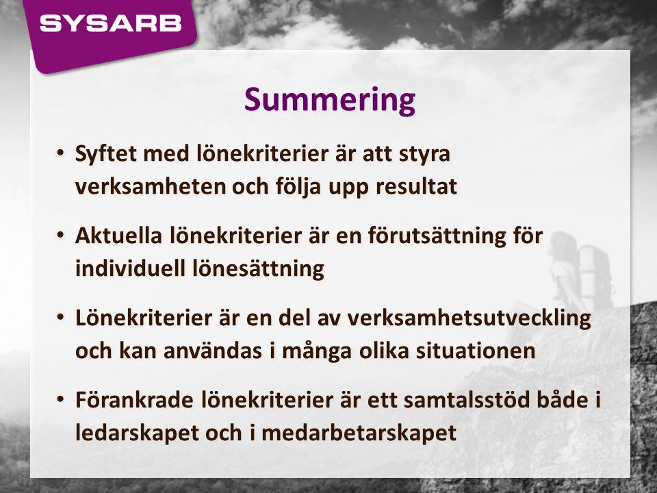Summering Syftet med lönekriterier är att styra verksamheten och följa upp resultat.