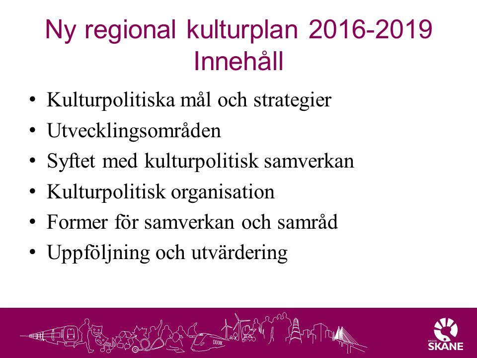 Ny regional kulturplan 2016-2019 Innehåll