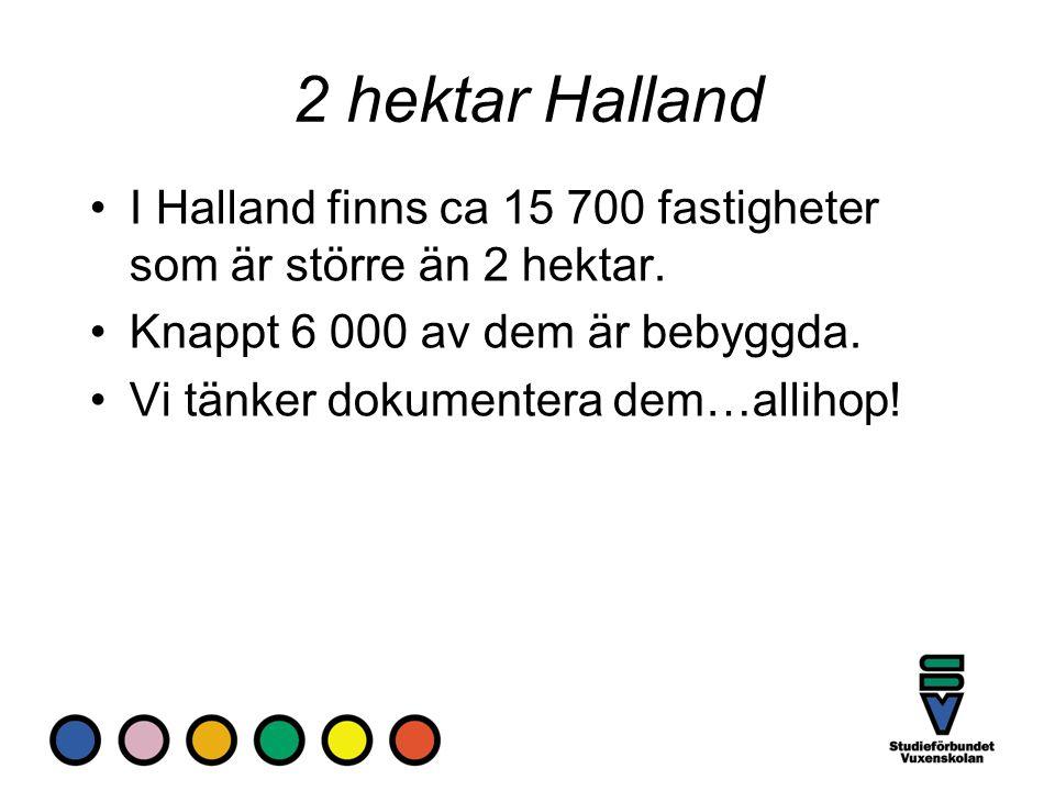 2 hektar Halland I Halland finns ca 15 700 fastigheter som är större än 2 hektar. Knappt 6 000 av dem är bebyggda.