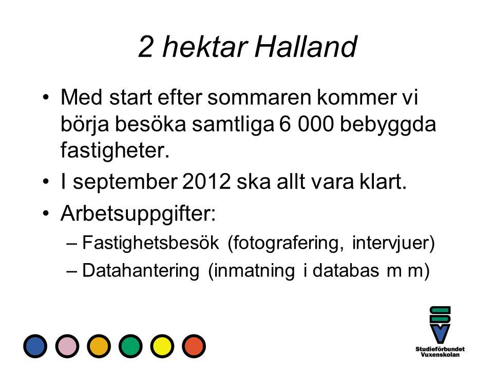 2 hektar Halland Med start efter sommaren kommer vi börja besöka samtliga 6 000 bebyggda fastigheter.