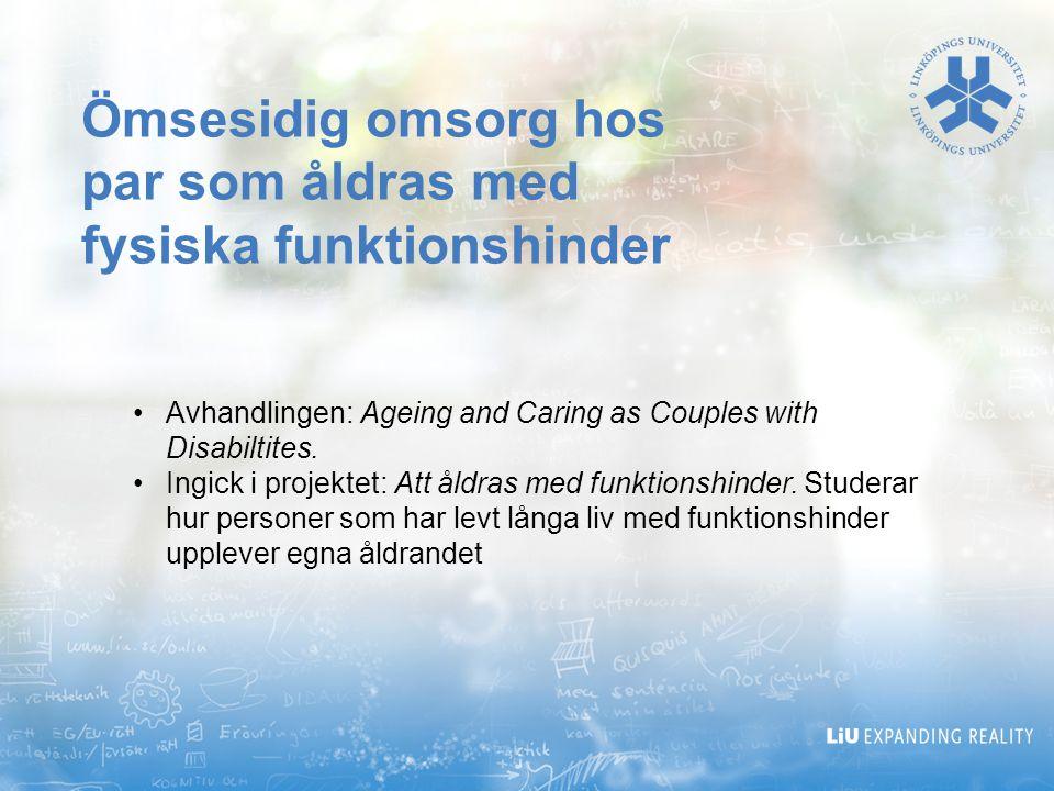Ömsesidig omsorg hos par som åldras med fysiska funktionshinder
