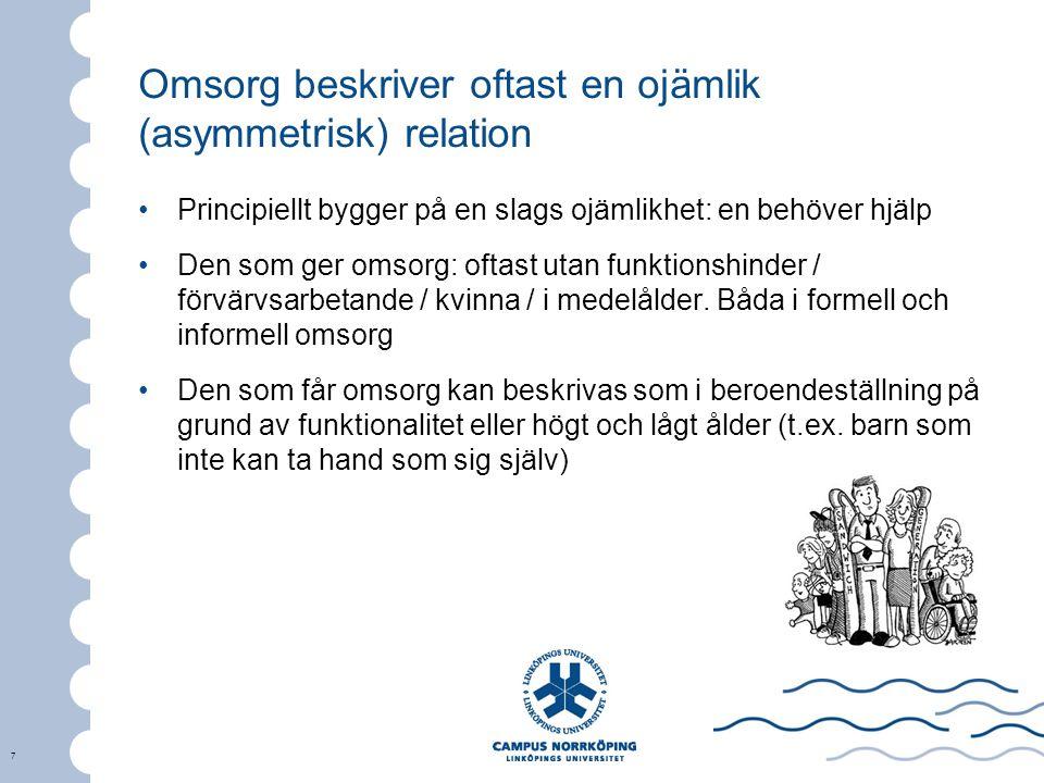 Omsorg beskriver oftast en ojämlik (asymmetrisk) relation