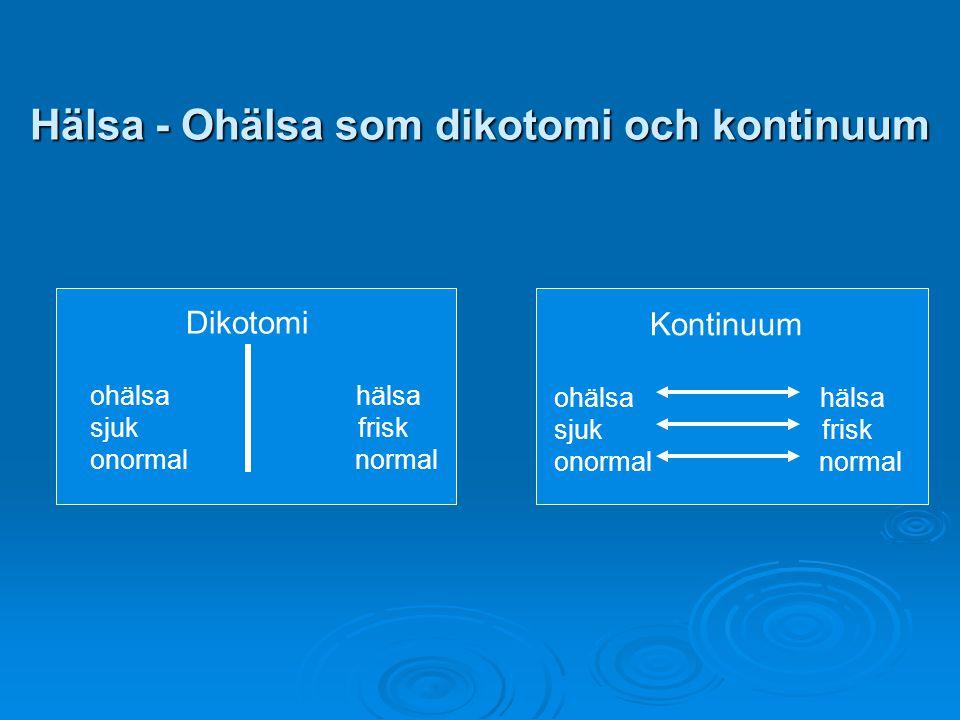 Hälsa - Ohälsa som dikotomi och kontinuum
