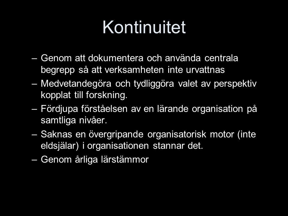 Kontinuitet Genom att dokumentera och använda centrala begrepp så att verksamheten inte urvattnas.