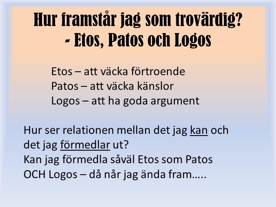 Hur framstår jag som trovärdig - Etos, Patos och Logos