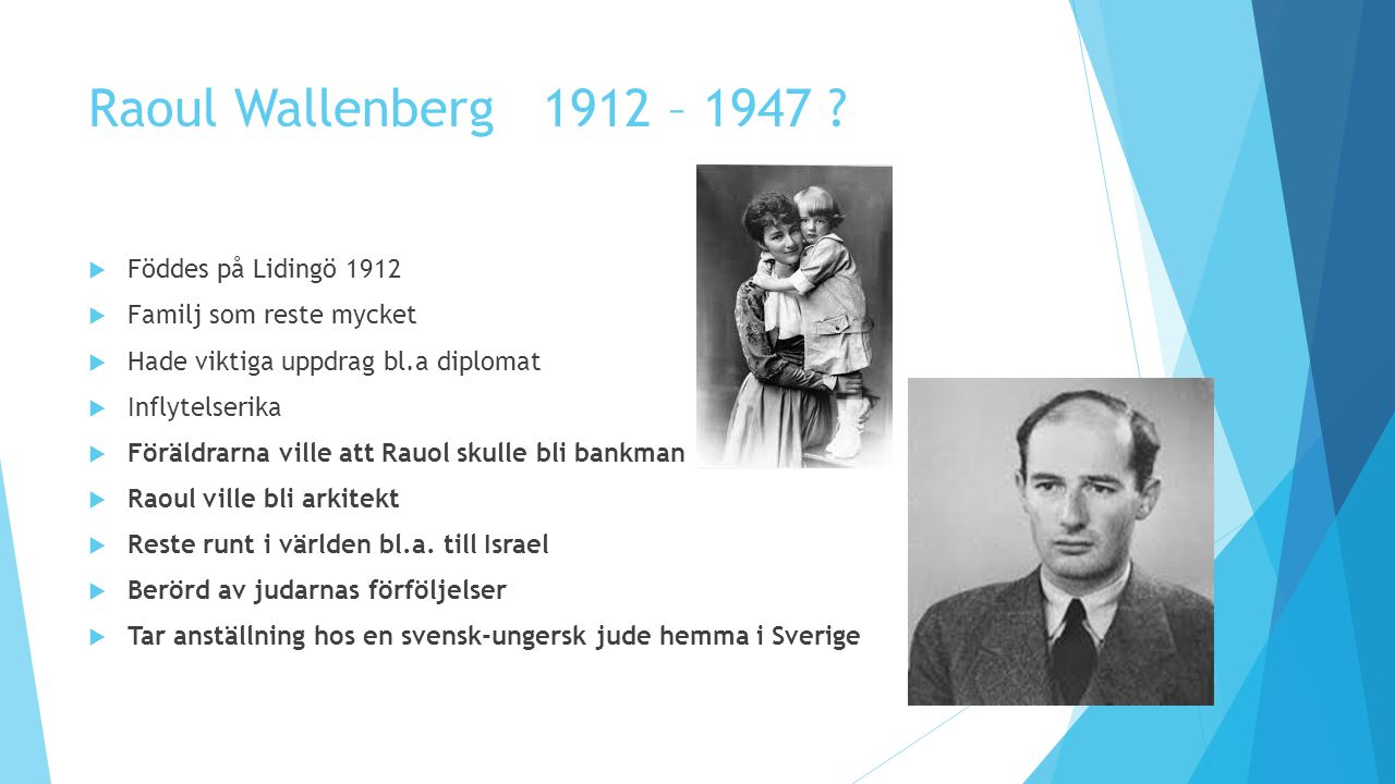 Raoul Wallenberg 1912 – 1947 Föddes på Lidingö 1912