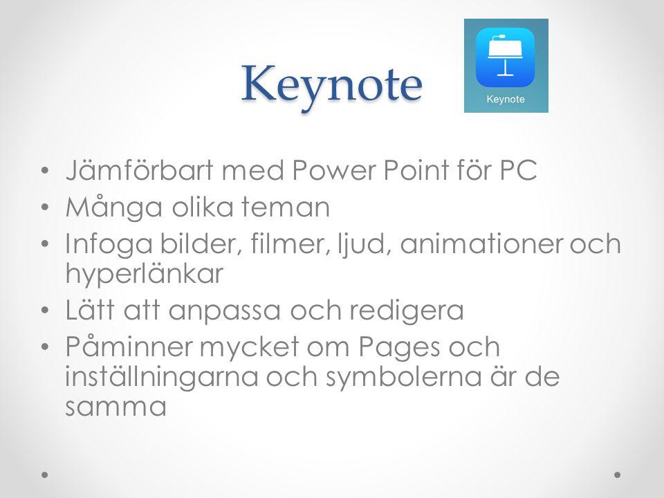 Keynote Jämförbart med Power Point för PC Många olika teman