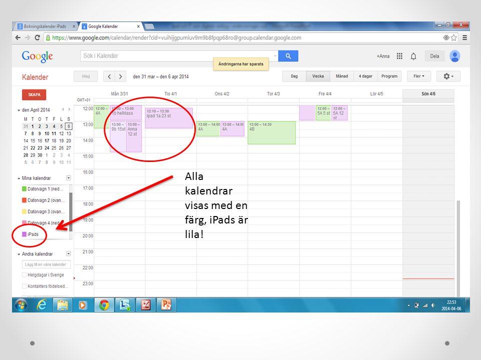 Alla kalendrar visas med en färg, iPads är lila!