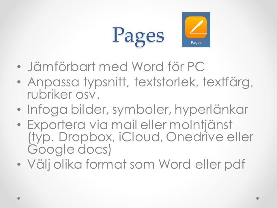 Pages Jämförbart med Word för PC