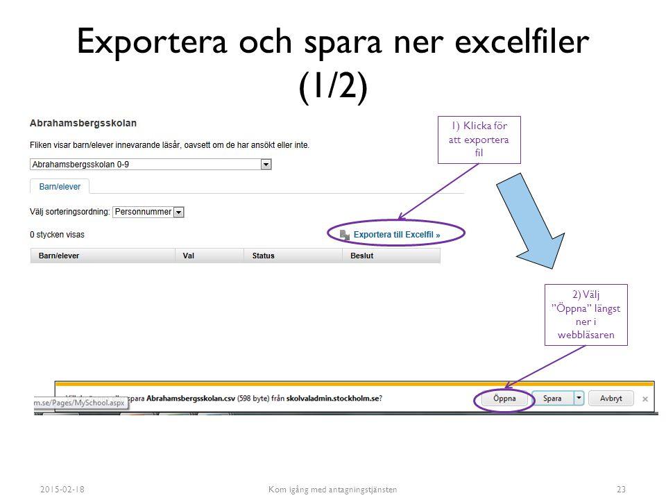 Exportera och spara ner excelfiler (1/2)
