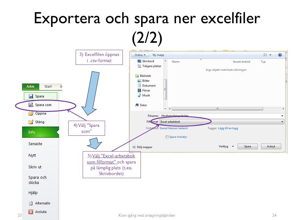 Exportera och spara ner excelfiler (2/2)