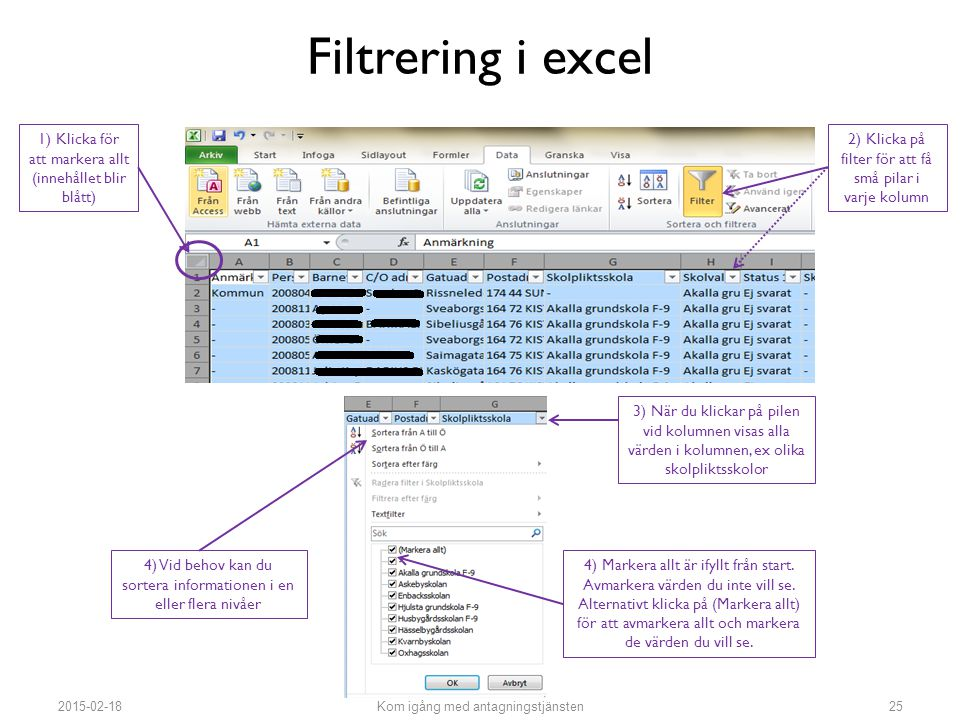Filtrering i excel 1) Klicka för att markera allt (innehållet blir blått) 2) Klicka på filter för att få små pilar i varje kolumn.