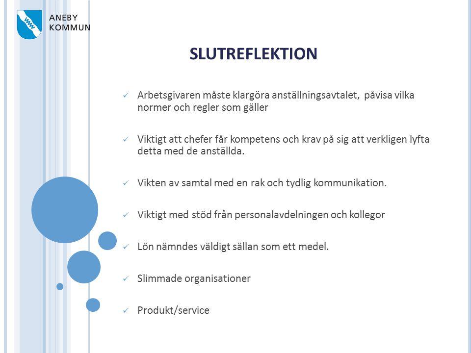 SLUTREFLEKTION Arbetsgivaren måste klargöra anställningsavtalet, påvisa vilka normer och regler som gäller.