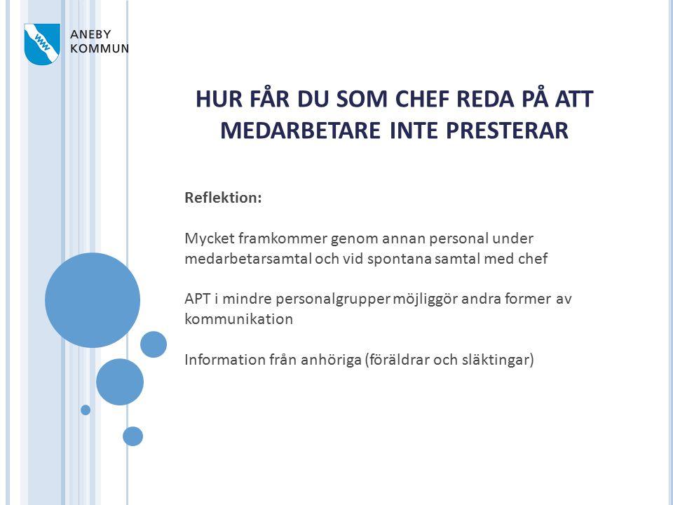 HUR FÅR DU SOM CHEF REDA PÅ ATT MEDARBETARE INTE PRESTERAR