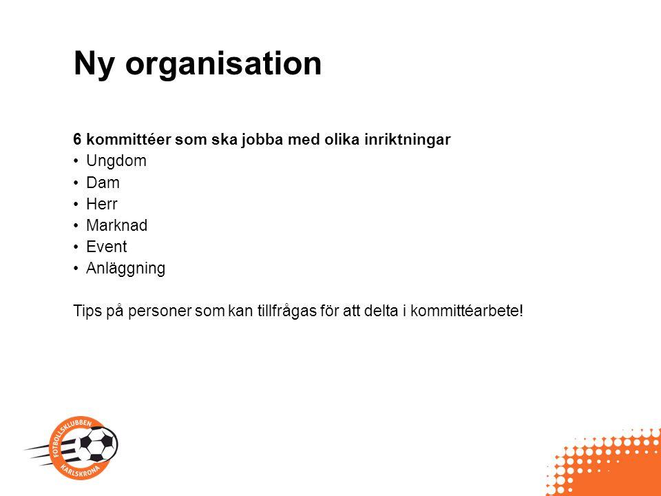 Ny organisation 6 kommittéer som ska jobba med olika inriktningar