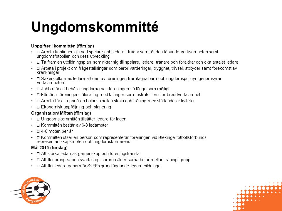 Ungdomskommitté Uppgifter i kommittén (förslag)