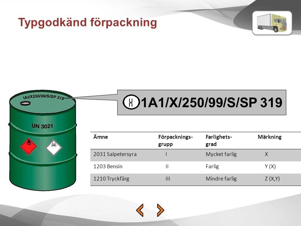 1A1/X/250/99/S/SP 319 Typgodkänd förpackning Ämne Förpacknings-grupp