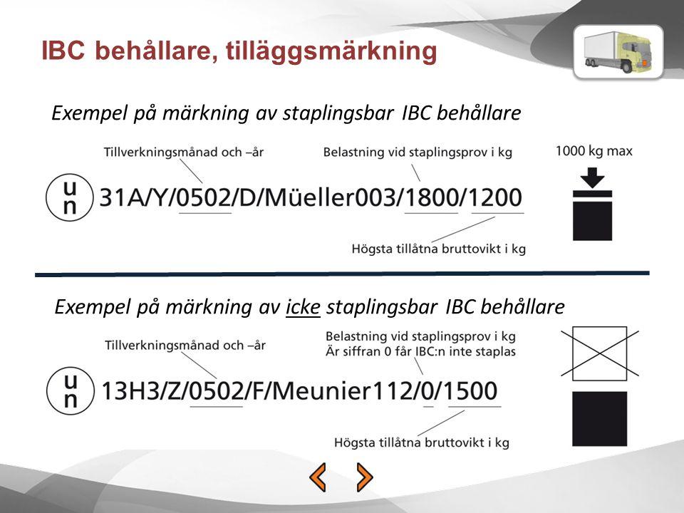 IBC behållare, tilläggsmärkning