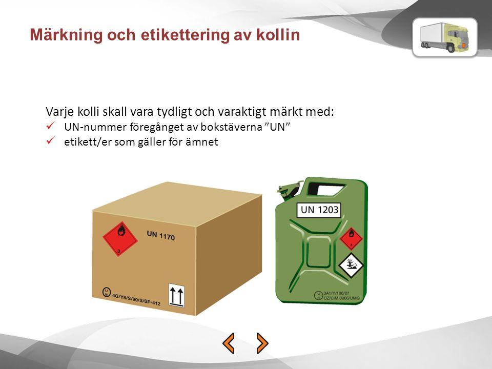 Märkning och etikettering av kollin