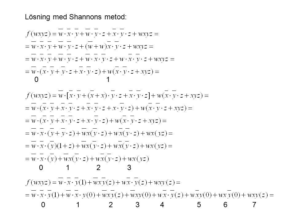 Lösning med Shannons metod: