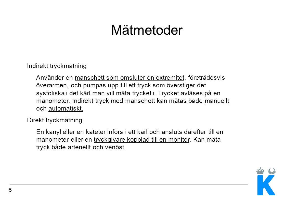 Mätmetoder Indirekt tryckmätning